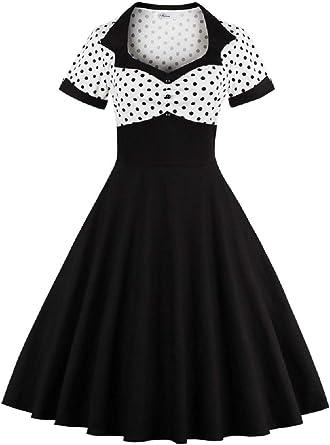 Ladies 1950/'s Vintage Style Black Polka Dot H//Neck Rockabilly Dress New 8-26