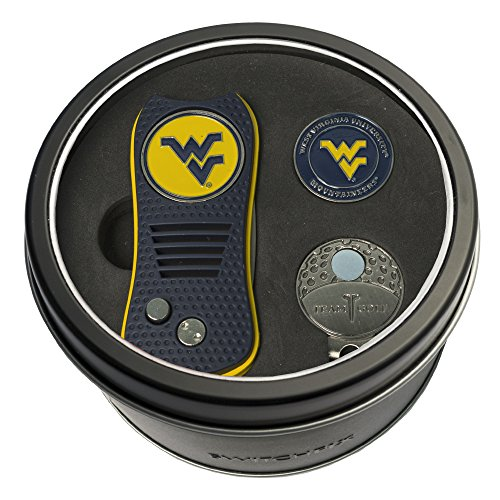 NCAA West Virginia Mountaineers Tin Gift Set with Switchfix Divot Tool, Cap Clip, and Ball Marker