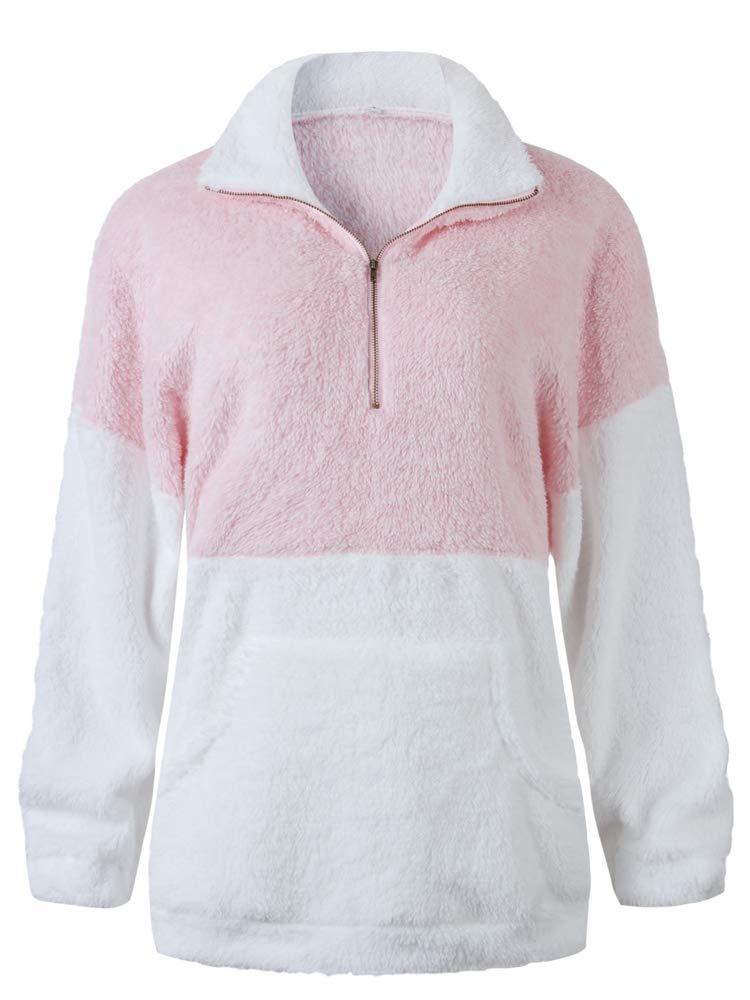 Leepus Women Warm Fluffy Sweatshirt Fleeces Zipped Turtleneck Pullovers Winter Casual Tops Sweater Pink by Leepus
