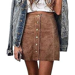 Gamery Women's High Waist Faux Suede Button Closure Plain A-line Mini Short Skirt Large Brown