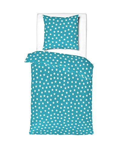 Aminata - Bettwäsche Sterne türkis weiß 135x200 Baumwolle Linon Mädchen Jugendliche