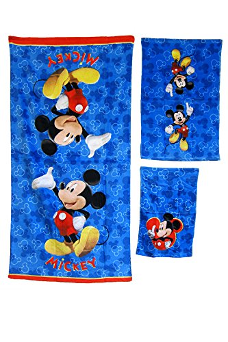 3 Pieces Disney Pixar 100% Cotton Bath, Hand, and Fingertip Towel Sets (Mickey Mouse)