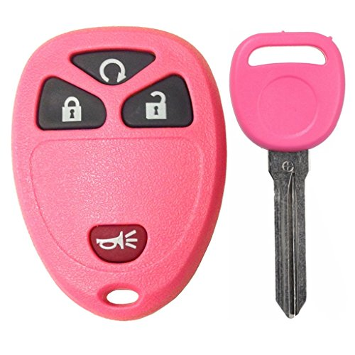 Discount Keyless Replacement Pink 4 Button Automotive Keyless Entry Remote Control Transmitter 15913421 and a Replacement Pink ID 46 Transponder Key Compatible with GM Vehicles