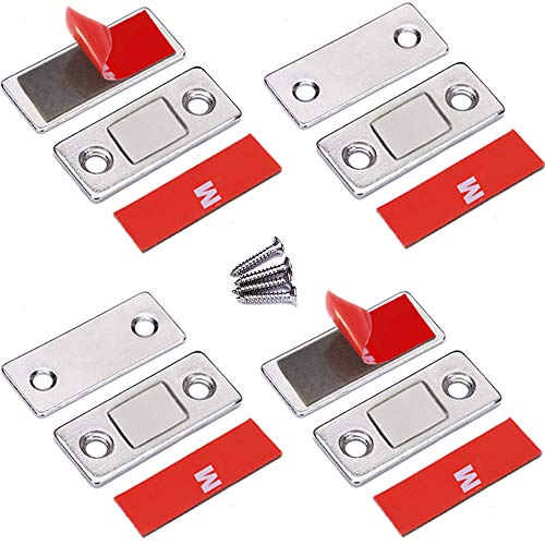 - Cabinet Door Magnets Jiayi 4 Pack Ultra Thin Magnetic Door Catch Stainless Steel Drawer Magnet Catch for Sliding Door Closure Kitchen Cabinet Closer Cupboard Closet Door Magnetic Latches Hardware