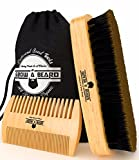 #4: Beard Brush and Comb Set for Men - Friendly Cotton Bag - Best Bamboo Beard Kit for Home and Travel - Great for Dry or Wet Beards - Adds Shine and Softness (Black Bag)