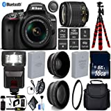 Nikon D3400 DSLR 24.2MP DX CMOS Camera AF-P 18-55mm VR Lens + Digital Slave SLR Flash + UV Protection Lens Filter + 12 inch Flexible Tripod + Camera Case - International Version
