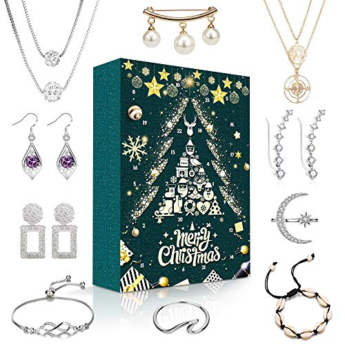MOVINPE Jewelry Advent Calendar 2019 Christmas Countdown Gifts Fashion Charms Jewelry Set for Girls Women