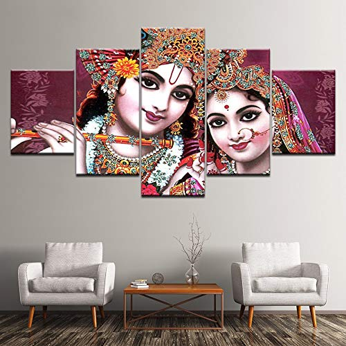 Yyjyxd Pictures Modular Poster HD Printing 5 Pieces India God Radha Krishna Canvas Painting Modern Living Room Wall Decor Art Framework-12x16/24/32inch,with Frame (Best Radha Krishna Hd Wallpaper)