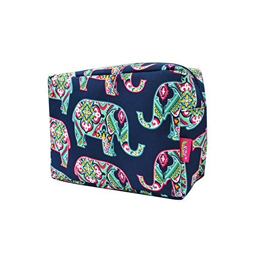 N. Gil Large Travel Cosmetic Pouch Bag (Elephant Navy Blue) ()