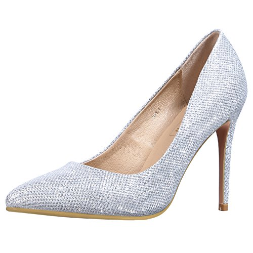 IDIFU Women's IN4 Classic Pointed Toe Stiletto High Heel Dress Pump (Silver Glitter, 6.5 B(M) US) (Silver Glitter Solid)