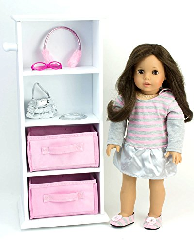 Doll Storage Tower Swivels in White Wood for 18 Inch American Girl Dolls & More! 18 Inch Doll Wood Swivel Tower w/ Doll Storage, by Sophia's