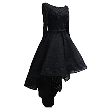 48e581da387 Heartfly Women's Black High Low Lace Prom Dresses Lace-Up Back With Long  Sleeve