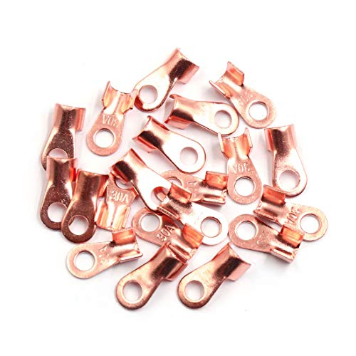 Sourcingmap 20pcs 30A Copper Ring Terminals Lug Battery Cable Connector: