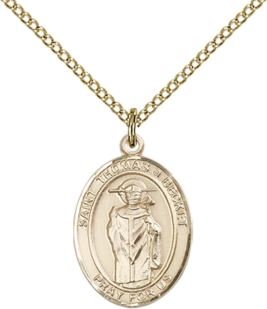 Patron Saint of Clergy F A Dumont 14kt Gold Filled St Thomas A Becket Pendant with 18 Gold Filled Lite Curb Chain