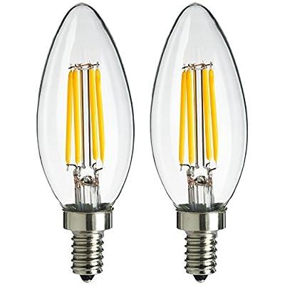 Sunlite 4W 120V LED Antique Style Chandelier with Candelabra Base and 1800K 250 Lumen Dimmable Light Bulb
