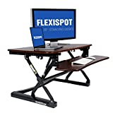 FlexiSpot M2RW Standing Desk Riser – 35″ wide platform Height Adjustable Stand up Desk Computer Riser with Removable Keyboard Tray (River walnut) For Sale