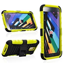 S5 Case ,Galaxy S5 Case, DLF Case [ Shockproof ] Samsung Galaxy S5 Case Heavy Duty Rugged Dual Layer TPU Textured Non Slip Reinforced Polycarbonate Hybrid Case for Samsung Galaxy S5 with Kickstand and Free Screen Protector (Black+Lemon)