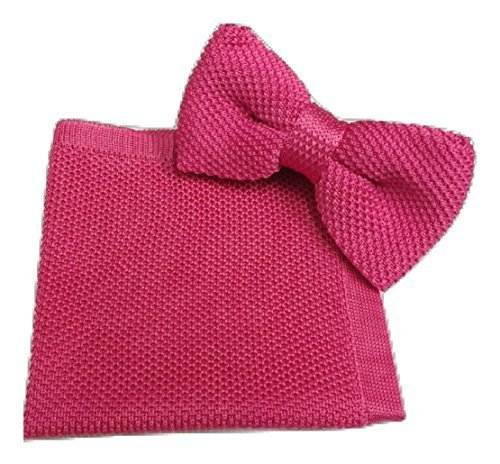 Hot Knitted L UK Bow Handkerchief Knitting Set Pink amp;L® Tie Pocket Men's Square Hanky Knit wOACO