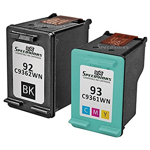Speedy Inks - 2PK Remanufactured replacement for HP 92 C9362WN & HP 93 C9361WN Ink Cartridge Set: 1 Black & 1 (Ink Cartridge Hp 92 93)