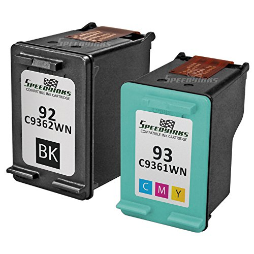 SpeedyInks 2PK Remanufactured replacement for HP 92 C9362WN & HP 93 C9361WN Ink Cartridge Set: 1 Black & 1 Color (Ink Black C9362wn)