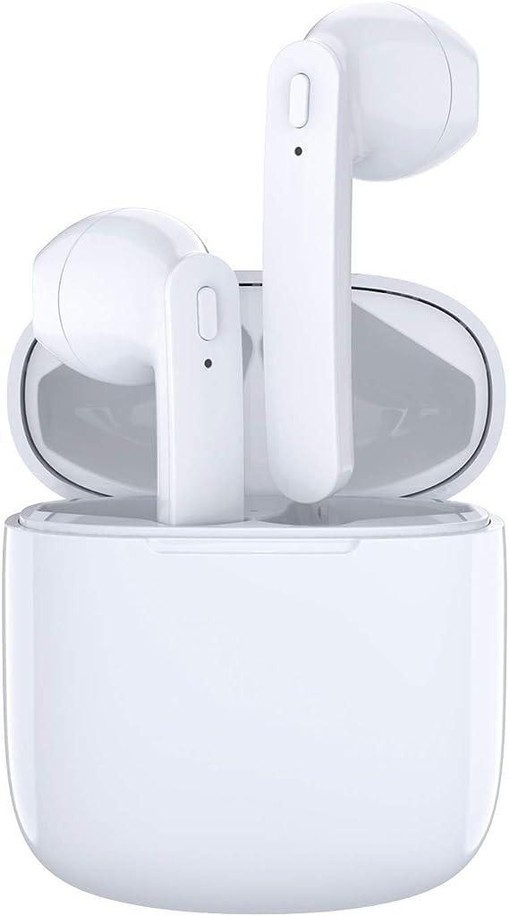 Image of Auriculares Bluetooth intraurales inalámbricos, auriculares in-ear Bluetooth 5.0 TWS auriculares in-ear 30 horas de tiempo de juego resistente al agua auriculares inalámbricos con micrófono para trabajo/correr/viaje/gimnasio (blanco) En el oído T12 Blanco