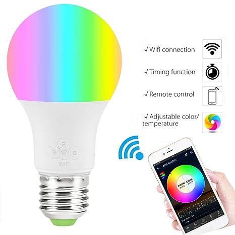 Bombilla Smart WiFi LED, RGB de Color cambiante, Compatible con Amazon Alexa y Google