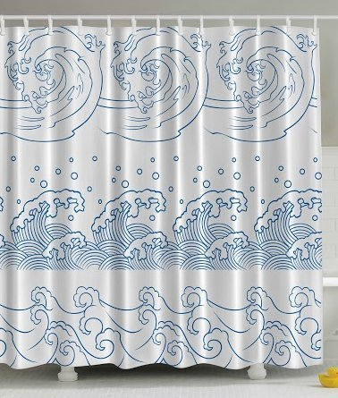 Abstract Shower Curtain Nautical Japanese Decor by Ambesonne, Illustration of Ocean Seaside Great Wave Off Stormy Tropical Kanagawa Inspired Coastal Print Bathroom Shower Curtain, Blue and White