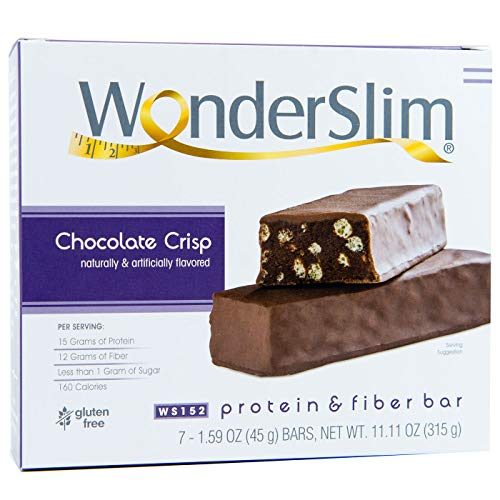 WonderSlim Low-Carb 15g Protein Diet Bar - Chocolate Crisp - High Fiber Weight Loss Snack Bar - Gluten Free (7 Count)