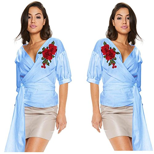 Embroidery Blouse,Hemlock Women Lady Short V-Neck Sashes Shirt Tops (S, Blue) (Embroidery Sash)
