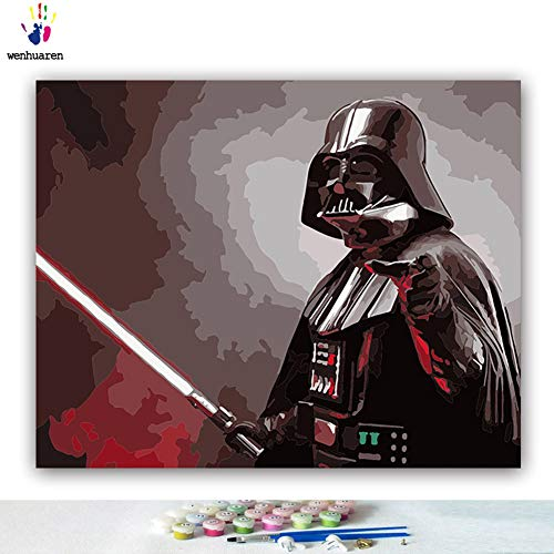 Paint by Number Kits Canvas DIY Oil Painting for Kids, Students, Adults Beginner with Brushes and Acrylic Pigment -Star Wars Movie Character Darth Vader Kylo Ren (21229, 16x20 no ()