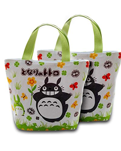 Finex - Set of 2 - My Neighbor TOTORO Canvas Zippered Tote with Carry Handles Lunch Box Diaper Bag Gym Tote - Giant Paper Bag Costume