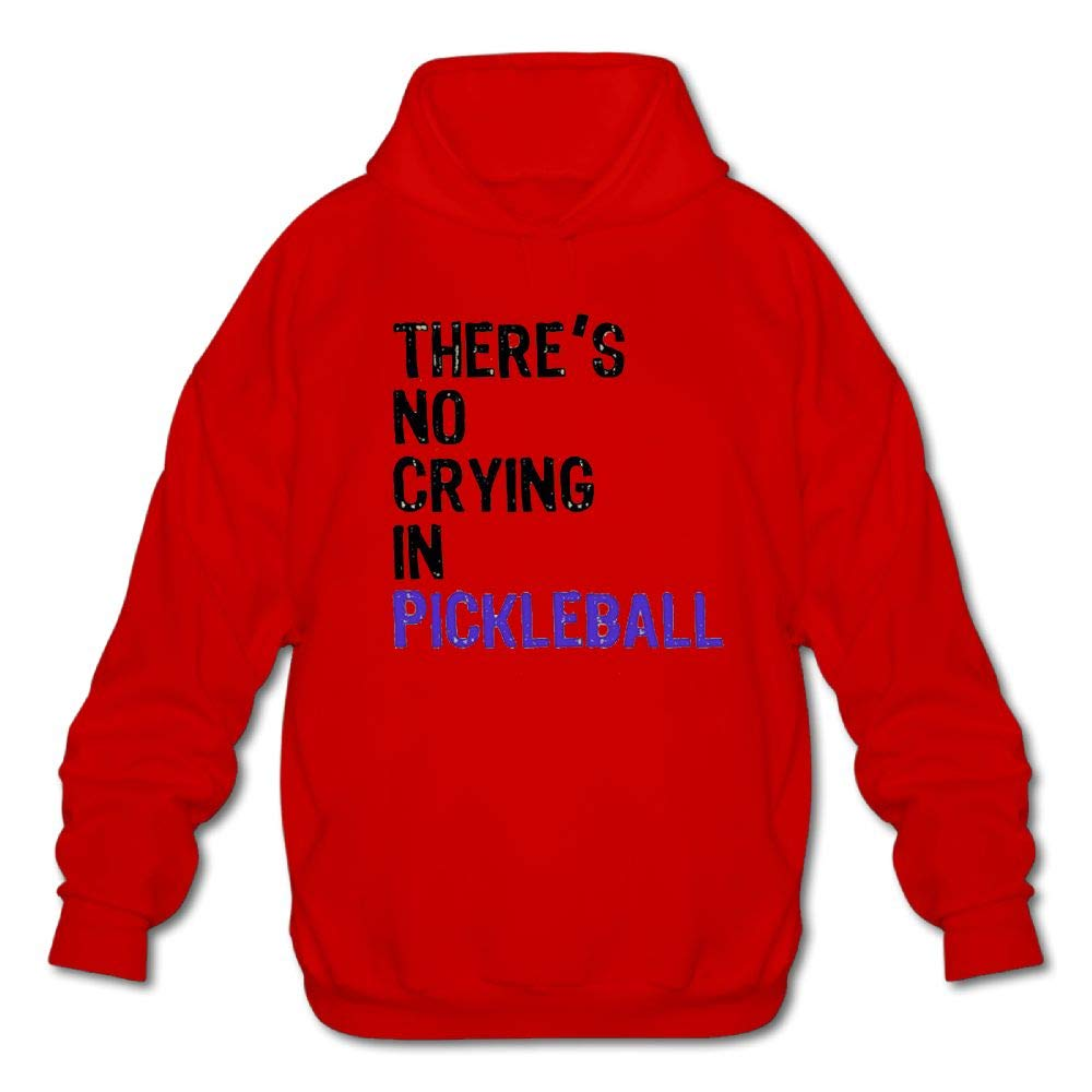 Haoshouru Mens Long Sleeve Cotton Hoodie Theres No Crying in Pickleball 2 Sweatshirt