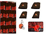 NFL Cleveland Browns 18 Piece Bath Ensemble: Set Includes 1 Shower Curtain, 12 Shower Hooks, 2 Bath Towels, 2 Hand Towels 1 Bath mat