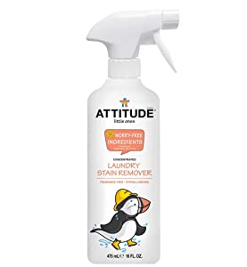 ATTITUDE Little Ones, Hypoallergenic Concentrated Laundry Stain Remover, Fragrance Free, 16 Fluid Ounce