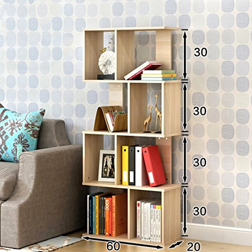 Bookshelf Floorstanding Students Shelf Simple Modern Bookcase Economical Living Room Small Storage Rack (Color : Maple cherry wood, Size : 4-Tier)