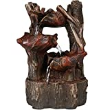 Sunnydaze Woodland Tree Trunk and Tiered Leaf Waterfall Tabletop Fountain with LED Light, 11 Inch
