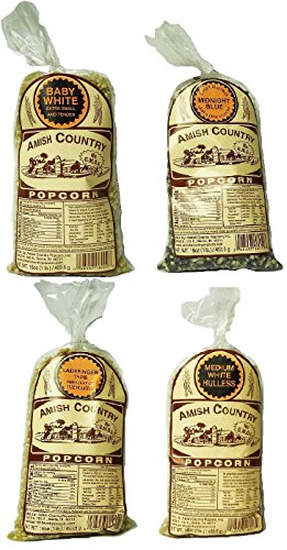 Amish Country Popcorn Gourmet Hulless Variety Sampler Set Baby White, Medium White, Ladyfinger, & Midnight Blue 1-Pound Bags (Pack of 4)