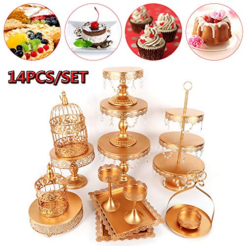 Cupcake Stands, 14 Set Metal Crystal Cake Holder Cupcake Stand Cake Dessert Holder with Pendants and Beads,Wedding Birthday Dessert Cupcake Pedestal Display, Gold USA STOCK (14, Gold)