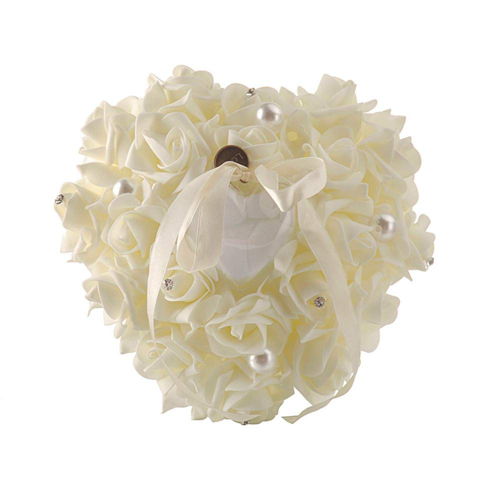 ChuXing Heart Shaped Wedding Ring Bearer Pillow Ivory Ring Pillow Lace Crystal Rose Ring Holder (Ivory) by ChuXing