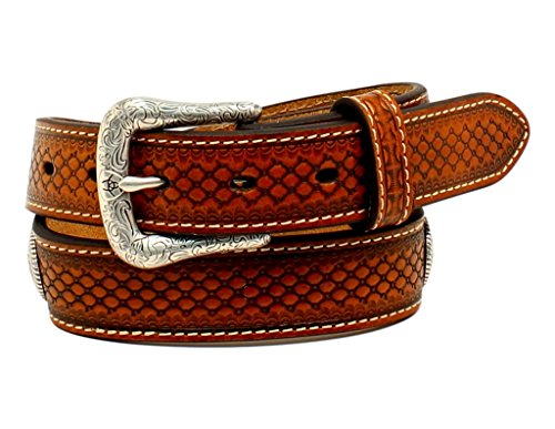 Ariat Kid's 1/4'' Ribbon Inlay Concho Belt, Tan, 30 (Concho Ribbon)