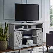 "Walker Edison Furniture Company Modern Farmhouse Sliding Barndoor Wood Tall Universal Stand for TV's up to 58"" Flat Screen Living Room Storage Cabinet Entertainment Center, 33 Inches, Stone Grey"