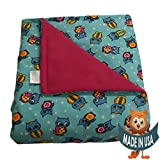 Adult Large Weighted Blanket By Sensory Goods 19lb Extra Heavy Pressure - Owls Pattern with Hot Pink - Fleece/Flannel (42'' x 72'')