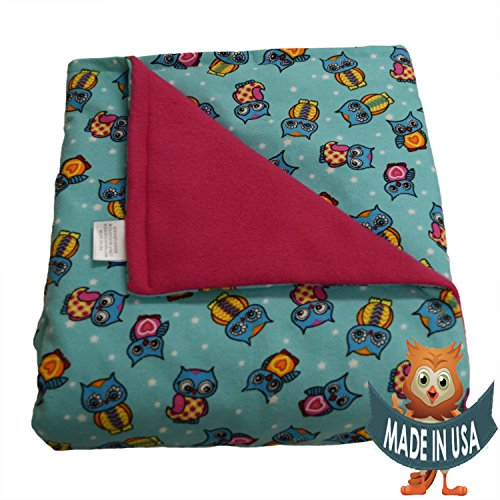 Adult Large Weighted Blanket By Sensory Goods 19lb Extra Heavy Pressure - Owls Pattern with Hot Pink - Fleece/Flannel (42'' x 72'') by SENSORY GOODS