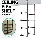 #8: Industrial French Country Style Decorative Pipe Wooden Wall ShelvesRustic DIY Ceiling Pipe Shelf Wall Vintage Hung Bracket Industrial Shelves (Red copper)