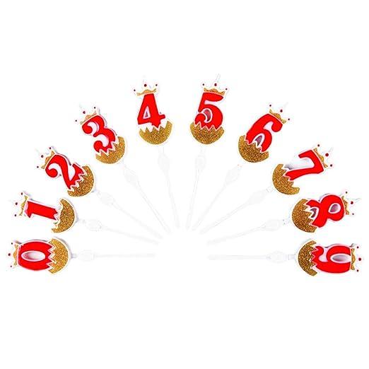 Amosfun - 10 Velas de cumpleaños con números para Fiestas y ...