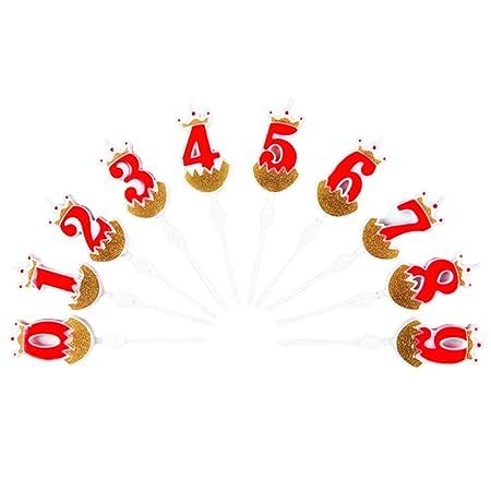 Amosfun 10 Piezas de números de cumpleaños Velas Velas de ...