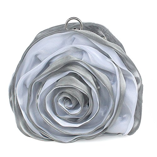 Lovely Flower Handbag Clutch Bag Women Eleoption Satin Silver Evening AUqd6x61w