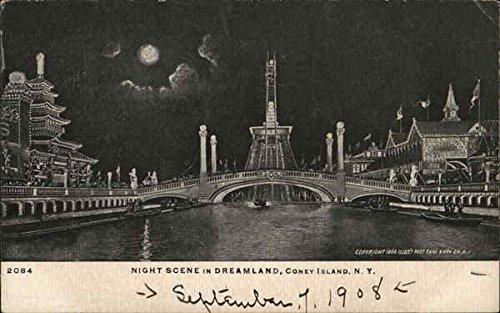 Dreamland Coney Island (Night Scene in Dreamland Coney Island, New York Original Vintage Postcard)