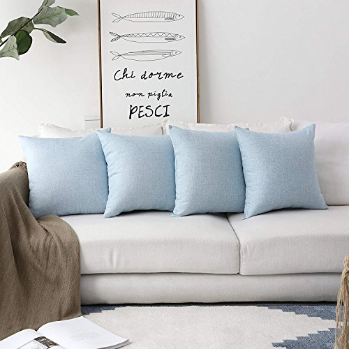MRNIU Part of 4 Decorative Pillow Covers 20x20 Inch Coastal Cushions Fine Faux Linen Home Decorative Soft Pillow Case Covers No Pillow Insert Pillowcases Outdoor Indoor Light Blue Covers