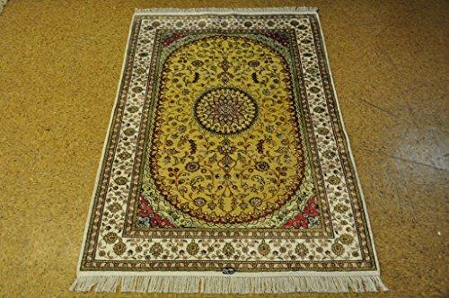 Tabriz Light Green - Silk Silk Carpets Rug 4x6 Rugs Online Tabriz Light Green - White Handmade